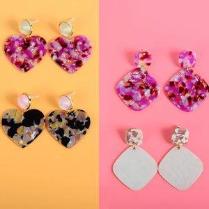 NWT Acrylic Heart Dangle Earrings - Pink Tortoise